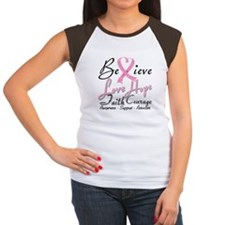Breast Cancer Believe Heart Collage Tee