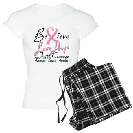 Breast Cancer Believe Heart Collage Women's Light