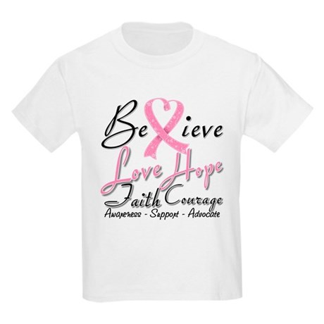 Breast Cancer Believe Heart Collage Kids Light T-S