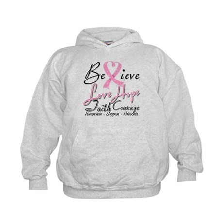 Breast Cancer Believe Heart Collage Kids Hoodie