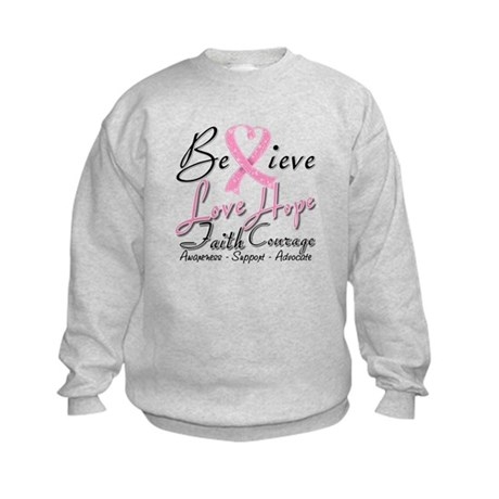 Breast Cancer Believe Heart Collage Kids Sweatshir