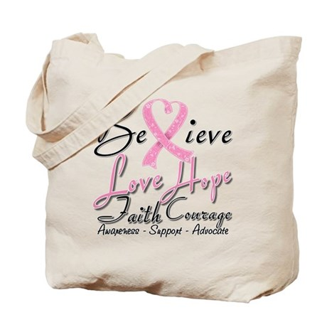 Breast Cancer Believe Heart Collage Tote Bag