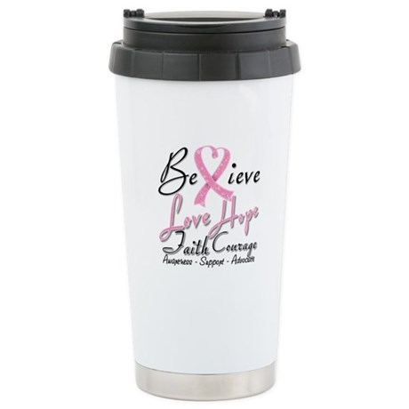 Breast Cancer Believe Heart Collage Ceramic Travel