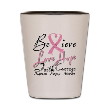 Breast Cancer Believe Heart Collage Shot Glass