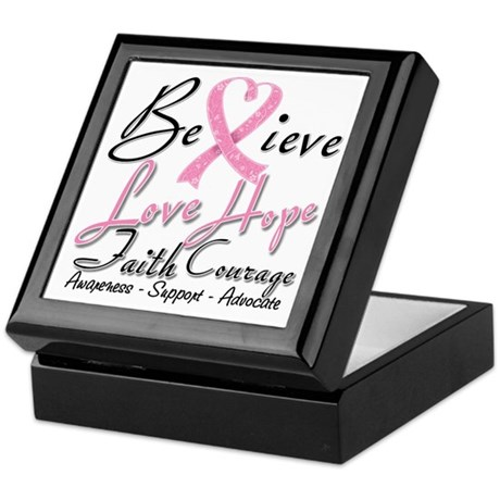 Breast Cancer Believe Heart Collage Keepsake Box