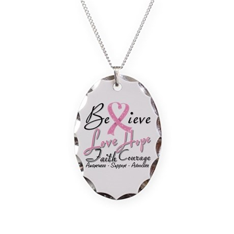 Breast Cancer Believe Heart Collage Necklace Oval