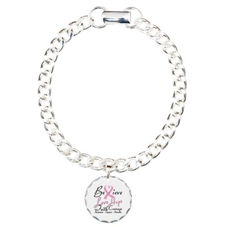 Breast Cancer Believe Heart Collage Charm Bracelet