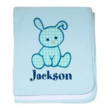 Custom Easter Blue Bunny baby blanket