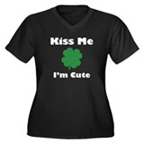 Kiss Me I'm Cute Women's Plus Size V-Neck Dark T-S