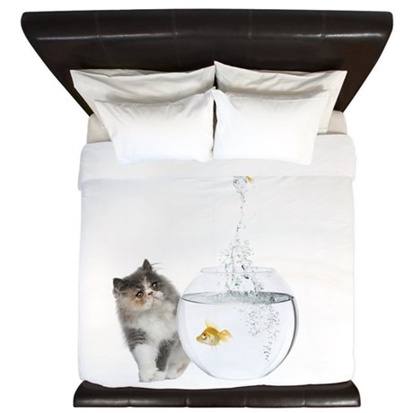 Cute Kitten and Goldfish King Duvet