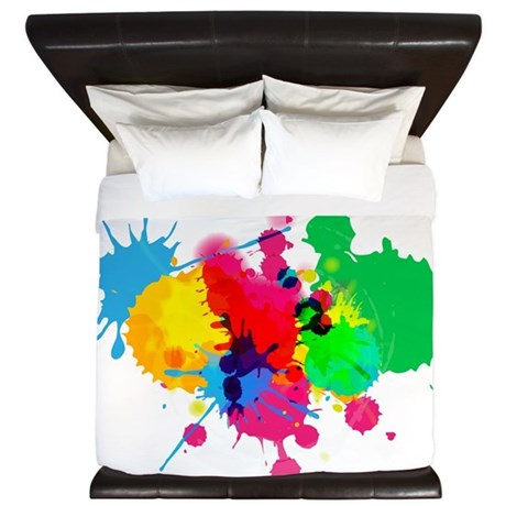 Abstract Paint Splatters King Duvet