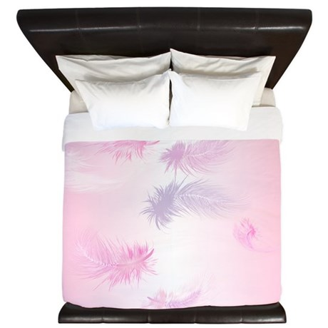 Soft Pink Feathers King Duvet