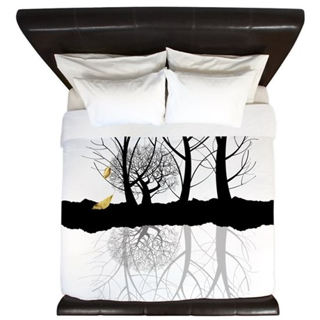 Last leaves of Autumn King Duvet