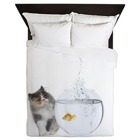 Cute Kitten and Goldfish Queen Duvet