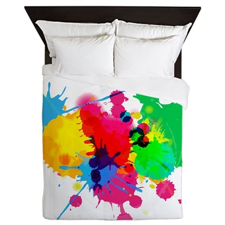 Abstract Paint Splatters Queen Duvet