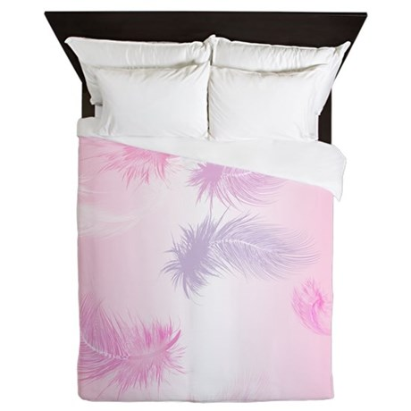 Soft Pink Feathers Queen Duvet