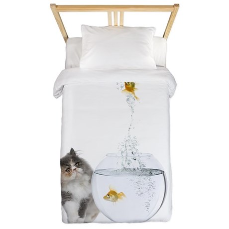 Cute Kitten and Goldfish Twin Duvet