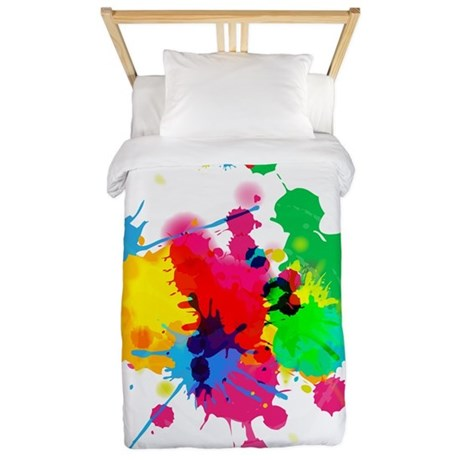 Abstract Paint SplattersTwin Duvet