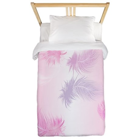 Soft Pink Feathers Twin Duvet