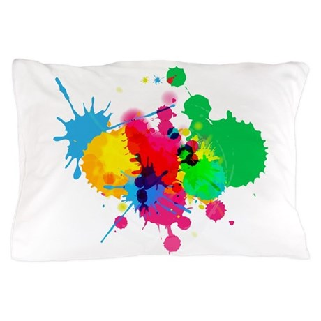Abstract Paint Splatters Pillow Case