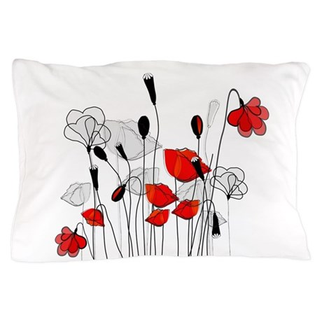 Whimsical Red Poppies Pillow Case