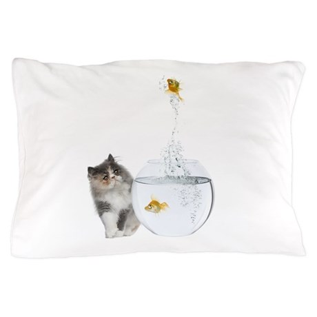 Cute Kitten and Goldfish Pillow Case