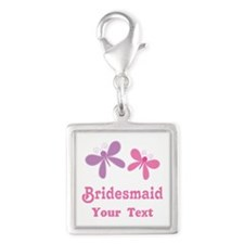Personalized Bridesmaid (butterflies) Silver Squar