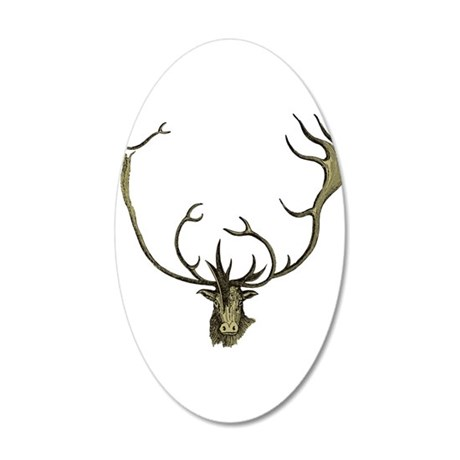 Elk Antlers 35x21 Oval Wall Decal