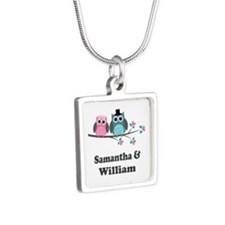 Personalized Bride Groom Owls Silver Square Neckla