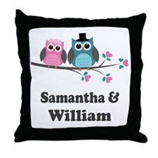 Personalized Bride Groom Owls Throw Pillow
