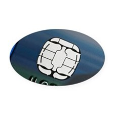 Credit card microchip - Oval Car Magnet