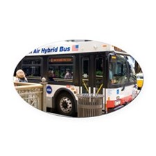Hybrid bus in Chicago - Oval Car Magnet