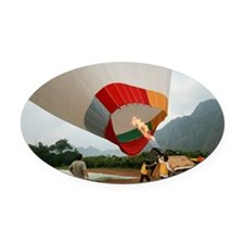 Launching a hot air balloon - Oval Car Magnet