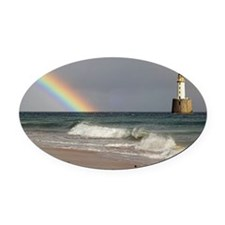 Rainbow and a lighthouse - Oval Car Magnet