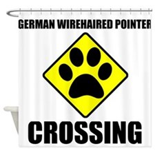 German Wirehaired Pointer Crossing Shower Curtain