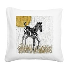 Baby Zebra Square Canvas Pillow