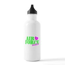 AF Sister Pink Heart Lime Green Water Bottle
