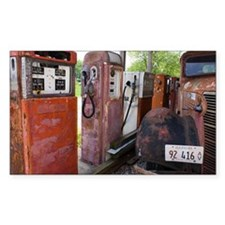 Rusty gas pumps and car - Decal