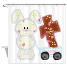 Bunny with a cross Shower Curtain