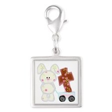 Bunny with a cross Silver Square Charm