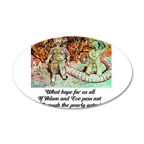 ADAM AND EVE ON JUDGEMENT DAY 35x21 Oval Wall Deca