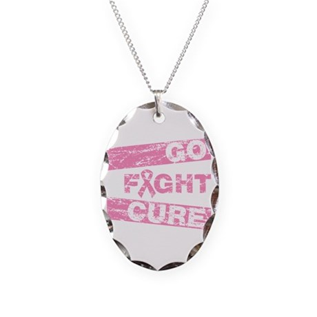 Breast Cancer Go Fight Cure Necklace Oval Charm