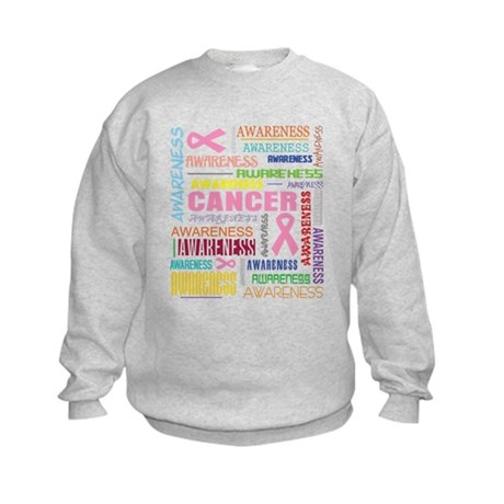 Breast Cancer Awareness Collage Kids Sweatshirt
