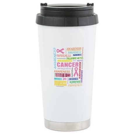 Breast Cancer Awareness Collage Ceramic Travel Mug