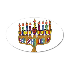 Happy Hanukkah Dreidel Menorah Wall Decal