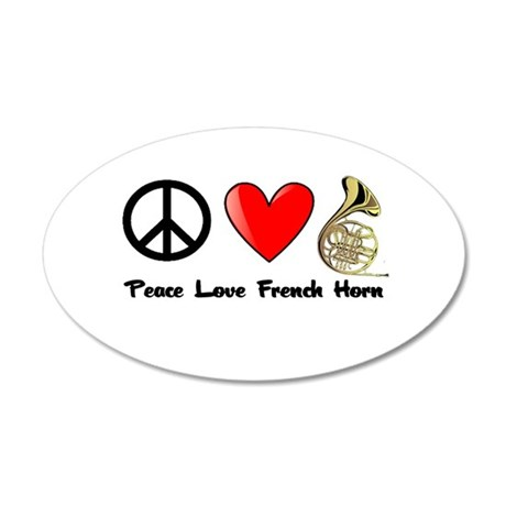 Peace, Love, French Horn Wall Decal