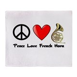 Peace, Love, French Horn Throw Blanket