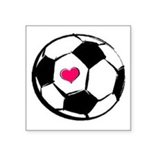 Soccer Heart Rectangle Sticker