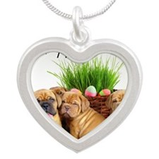 easter dogue de bordeaux Silver Heart Necklace