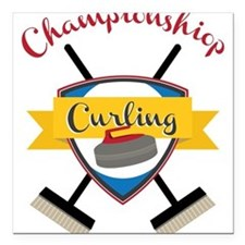 "Championship Curling Square Car Magnet 3"" x 3"""